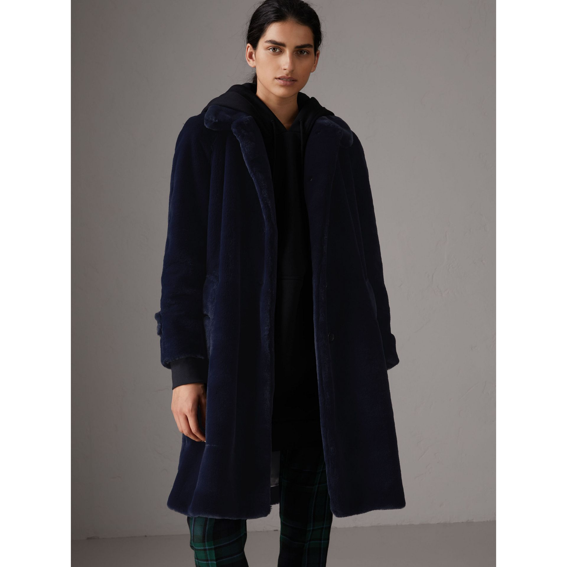 Faux Fur Single-breasted Car Coat in Navy - Women | Burberry - gallery image 0