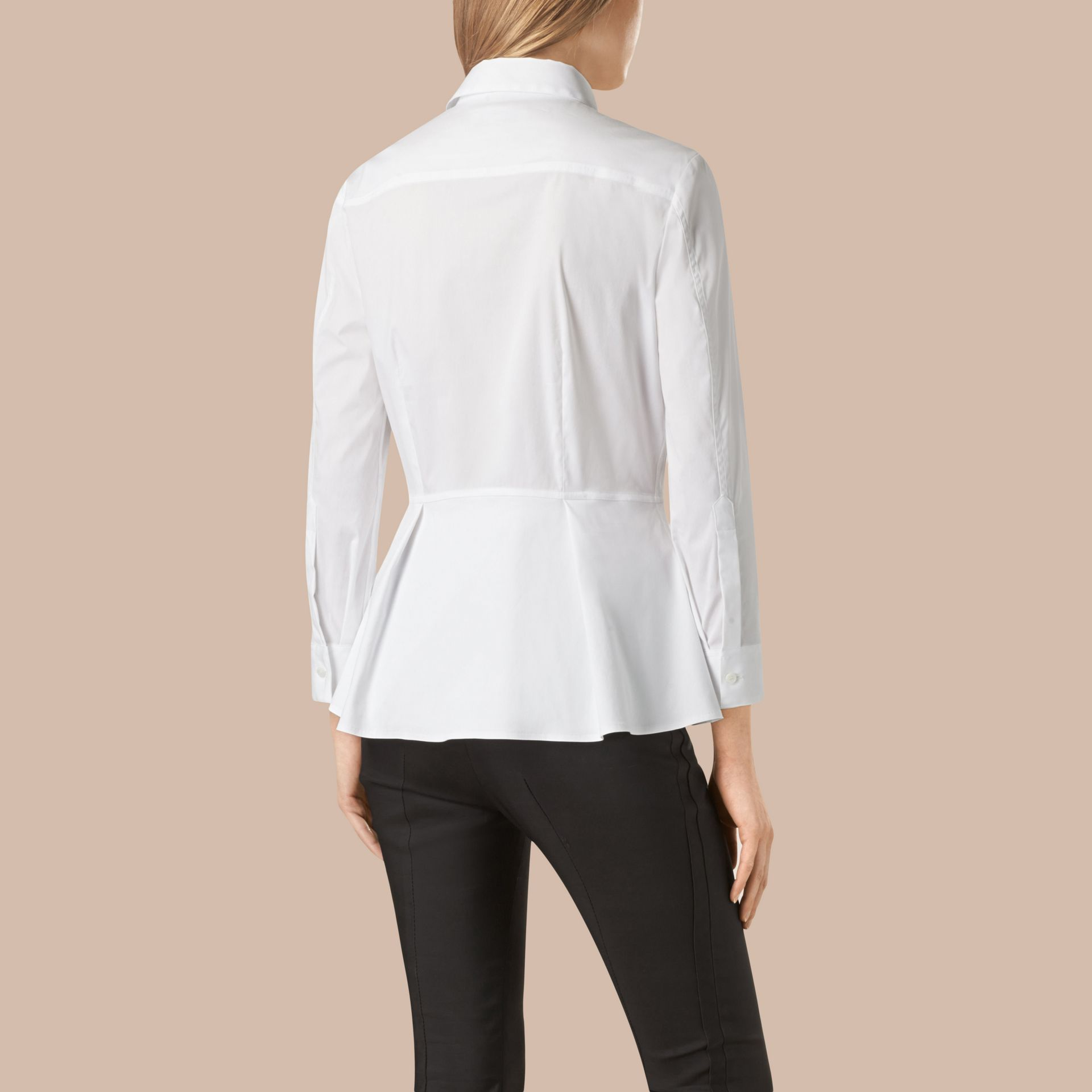 White Stretch Cotton Peplum Shirt - gallery image 3