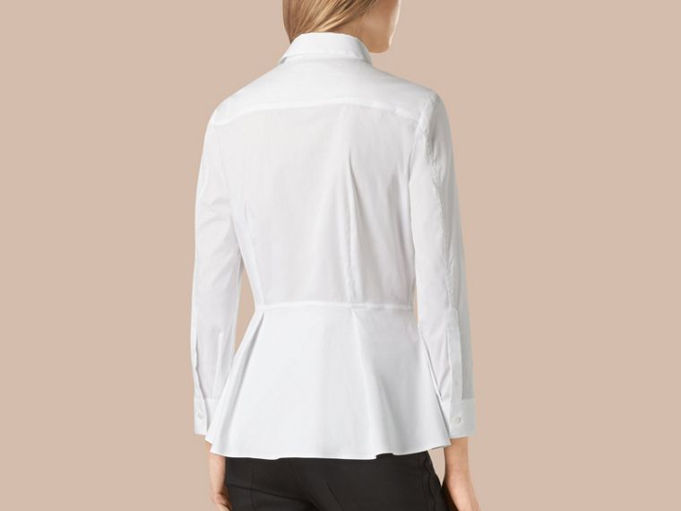 White Stretch Cotton Peplum Shirt - cell image 2