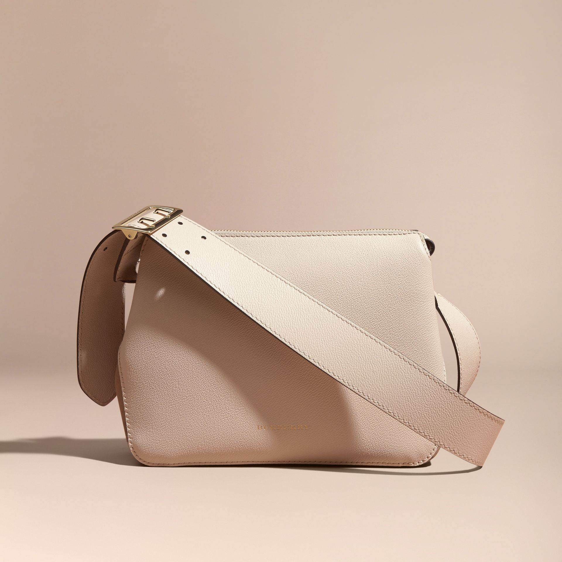 Buckle Detail Leather and House Check Crossbody Bag in Limestone - Women | Burberry - gallery image 7