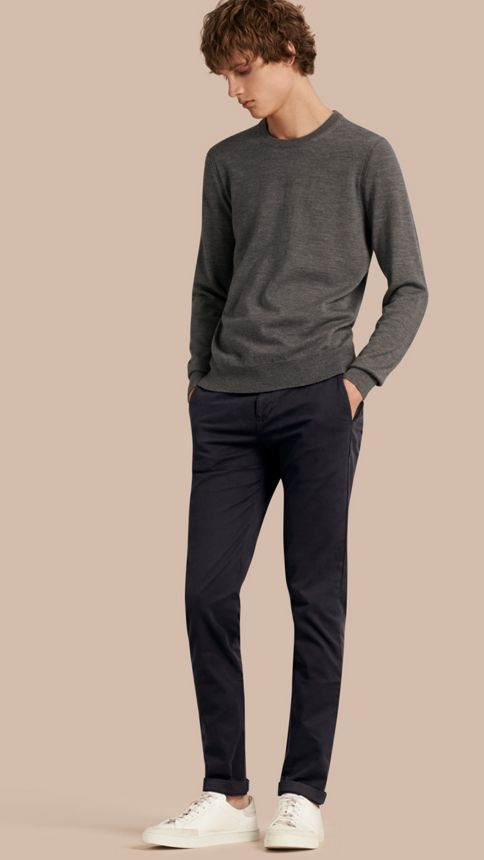 Navy Slim Fit Stretch-Cotton Twill Chinos Navy - Image 1