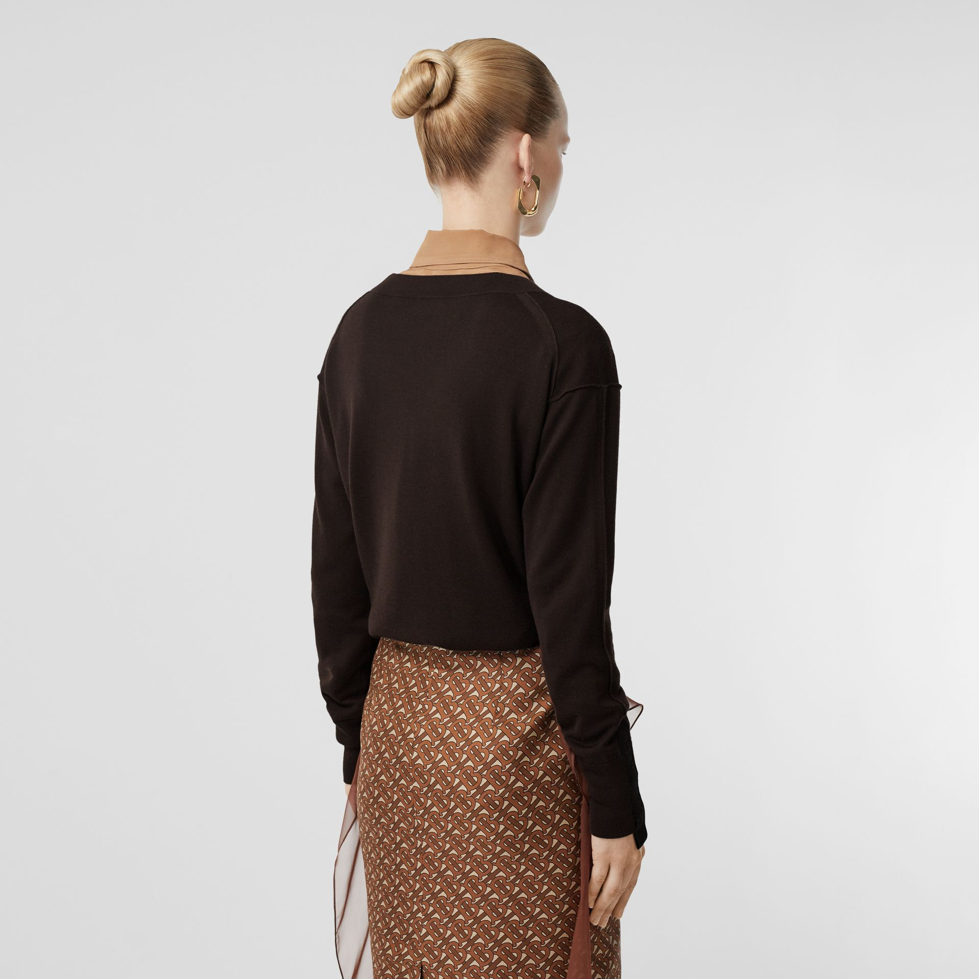 Logo Detail Merino Wool Silk Sweater in Dark Mocha - Women | Burberry - gallery image 2