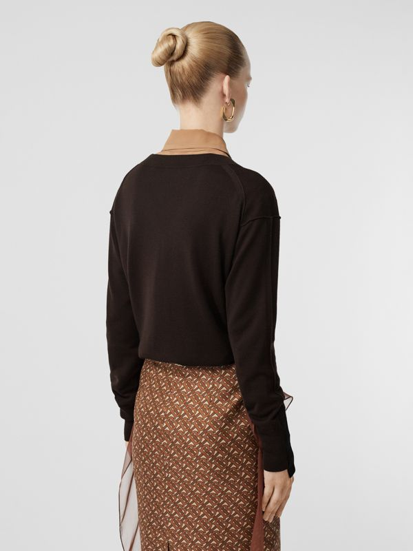 Logo Detail Merino Wool Silk Sweater in Dark Mocha - Women | Burberry - cell image 2