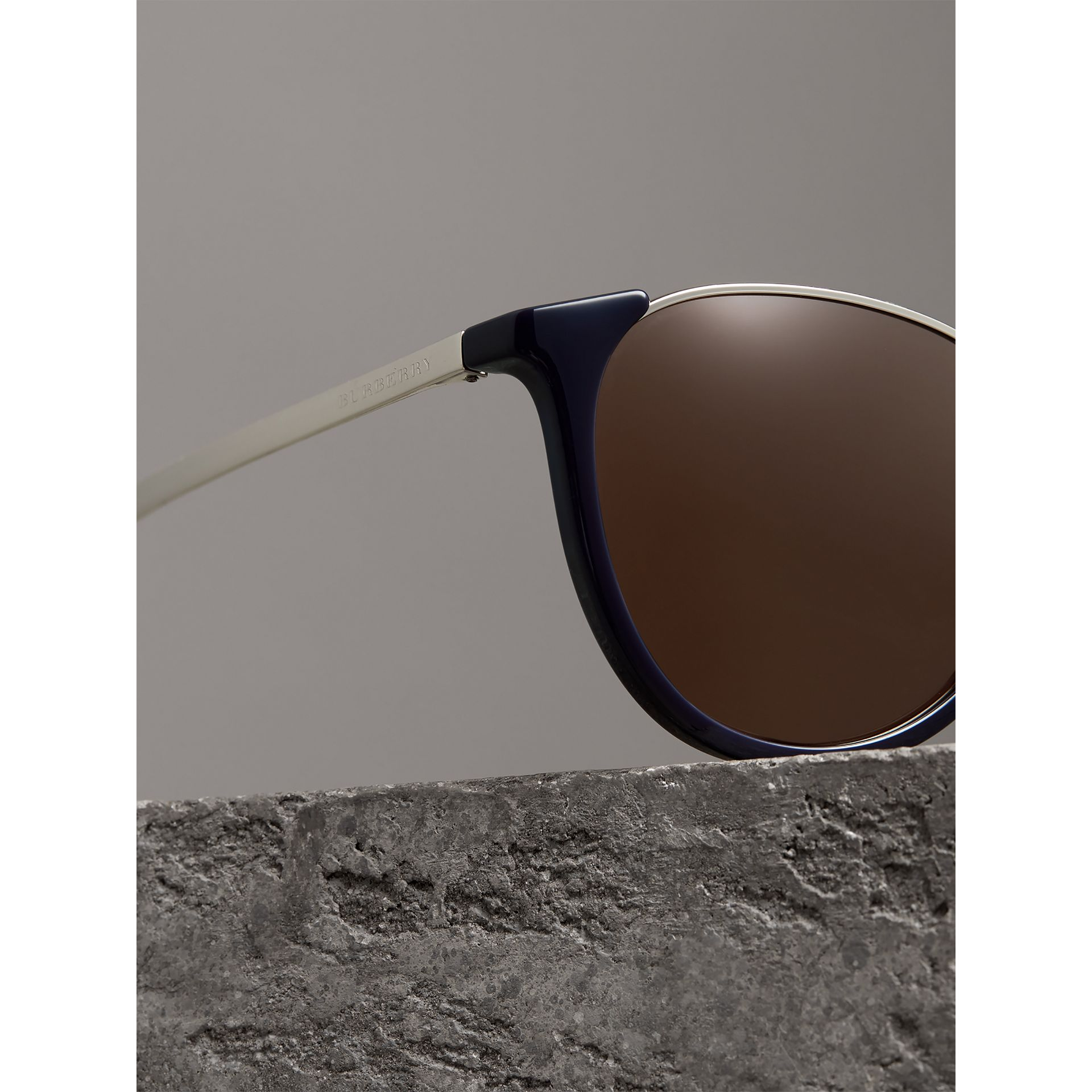Keyhole Pilot Round Frame Sunglasses in Blue - Men | Burberry - gallery image 1