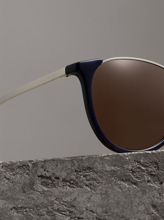 Keyhole Pilot Round Frame Sunglasses in Blue - Men | Burberry - cell image 1