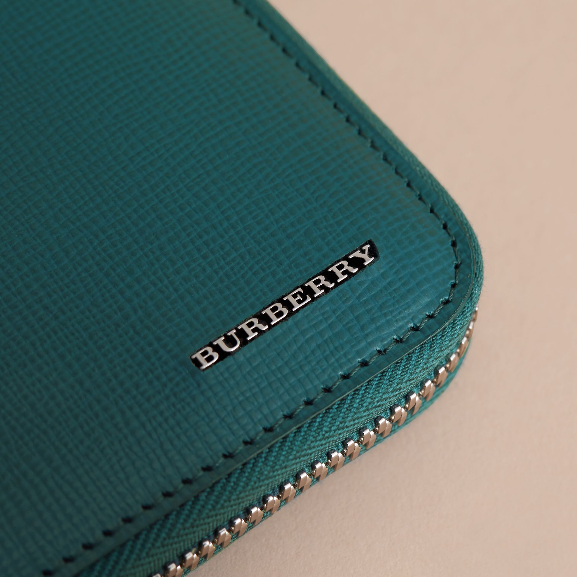 London Leather Ziparound Wallet in Dark Teal | Burberry - gallery image 2