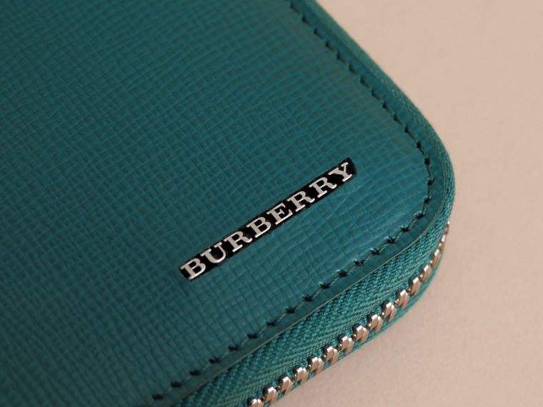 London Leather Ziparound Wallet in Dark Teal | Burberry - cell image 1