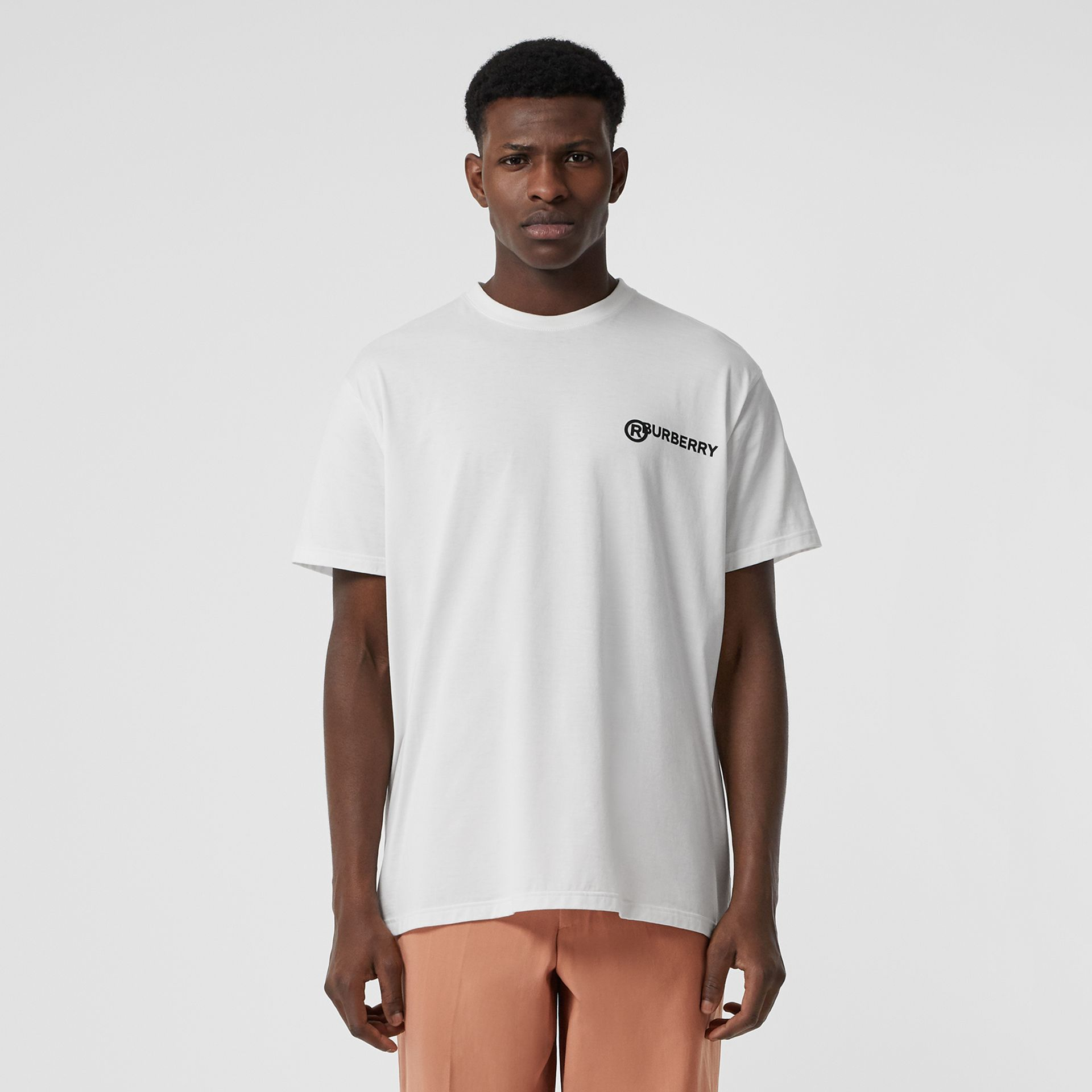 Logo Print Cotton Oversized T-shirt in White | Burberry Australia - gallery image 0