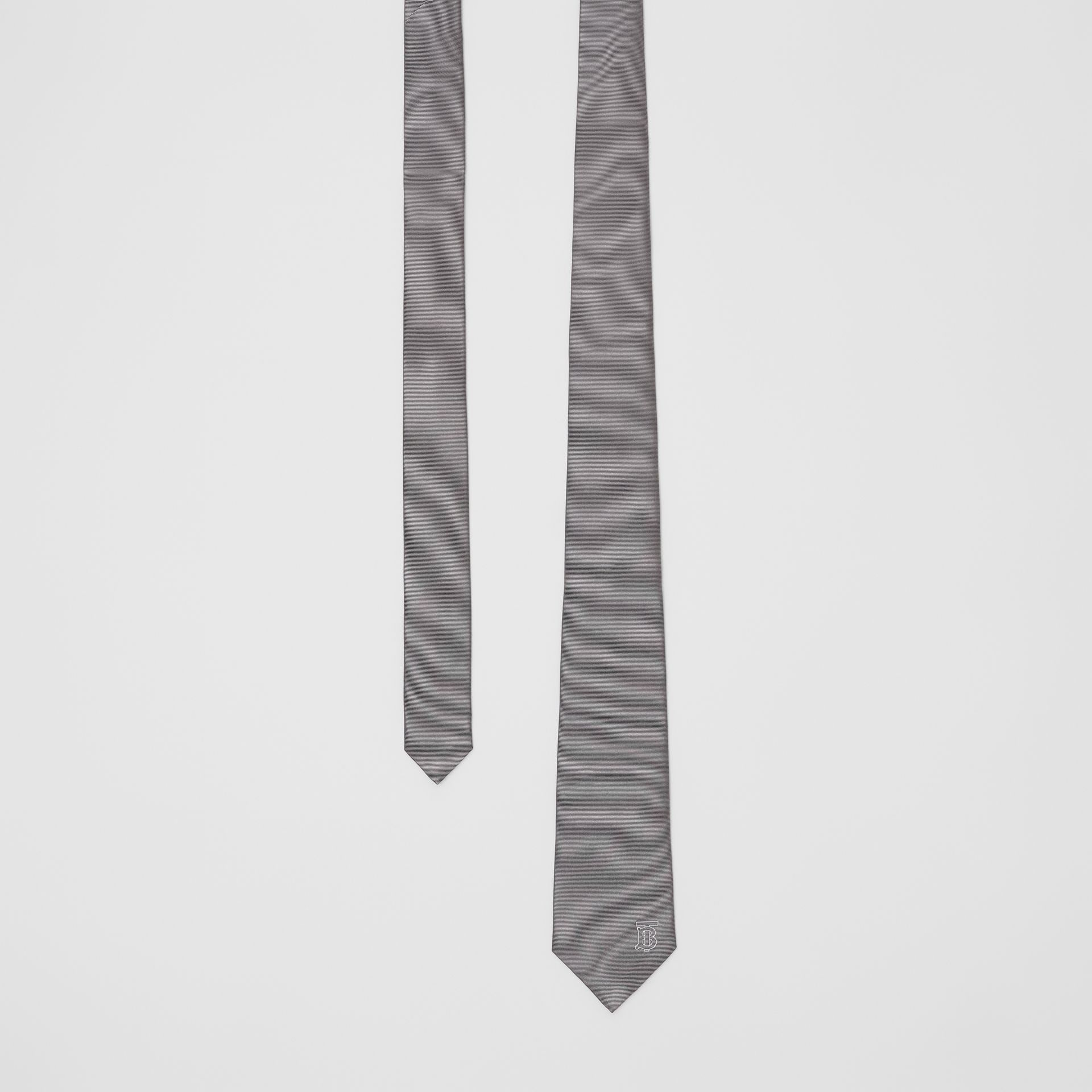 Classic Cut Monogram Motif Silk Tie in Mid Grey - Men | Burberry - gallery image 0