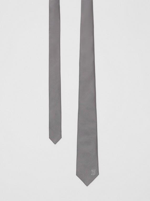 Classic Cut Monogram Motif Silk Tie in Mid Grey