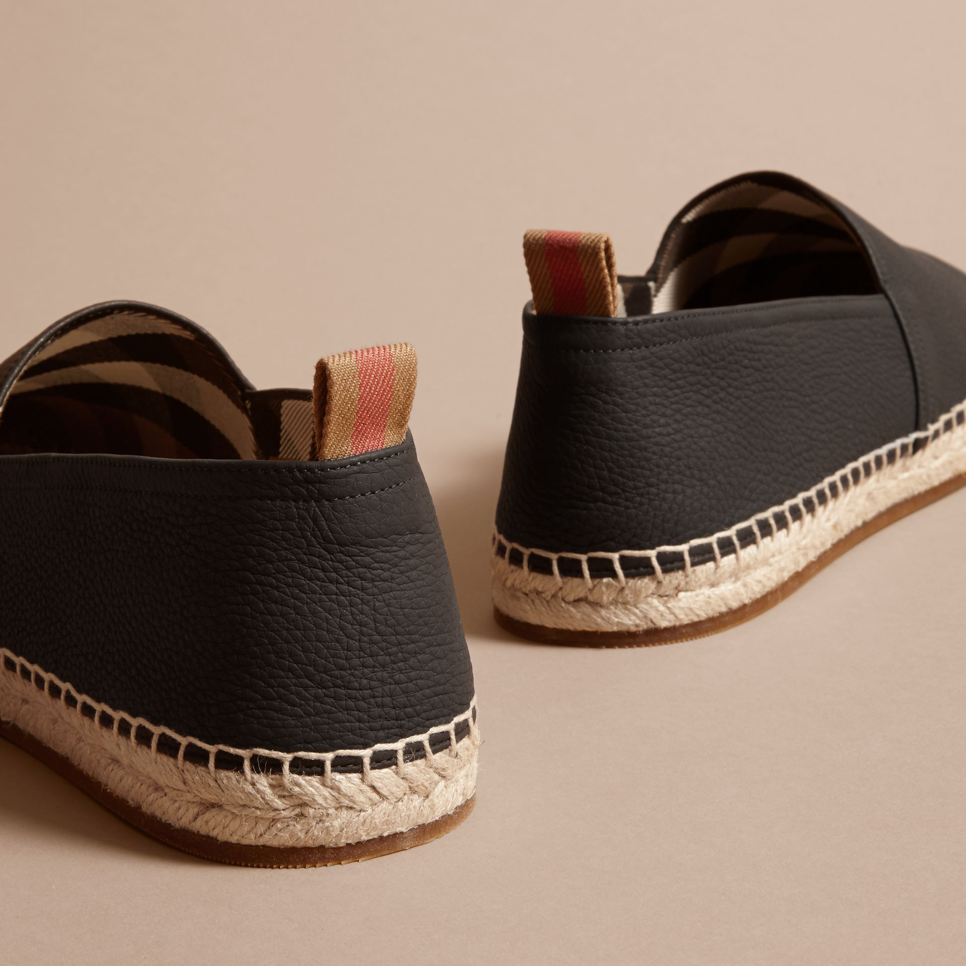 Check Detail Leather Espadrilles Black - gallery image 4
