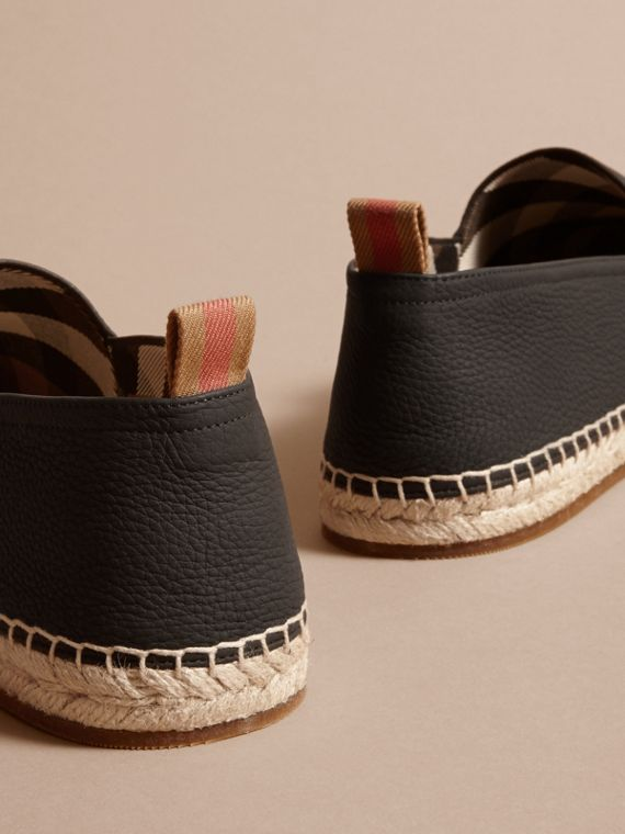 Check Detail Leather Espadrilles Black - cell image 3