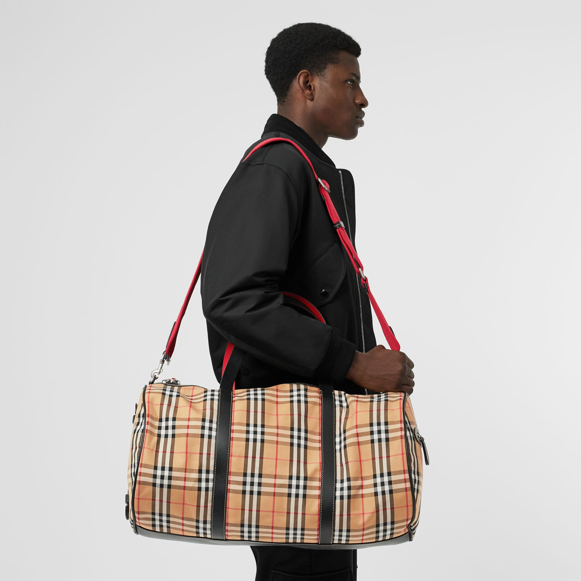 Large Vintage Check and Leather Barrel Bag in Military Red - Men | Burberry Hong Kong - gallery image 5