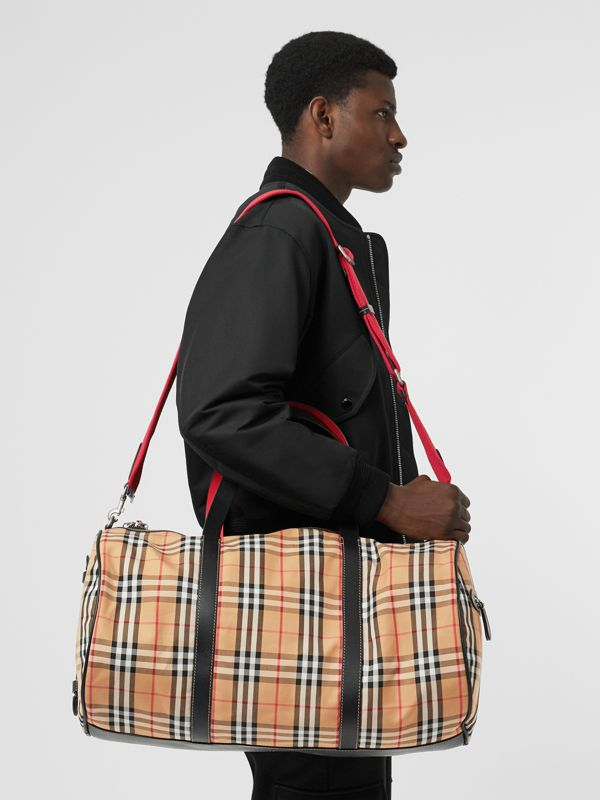 Large Vintage Check and Leather Barrel Bag in Military Red - Men | Burberry United Kingdom - cell image 2