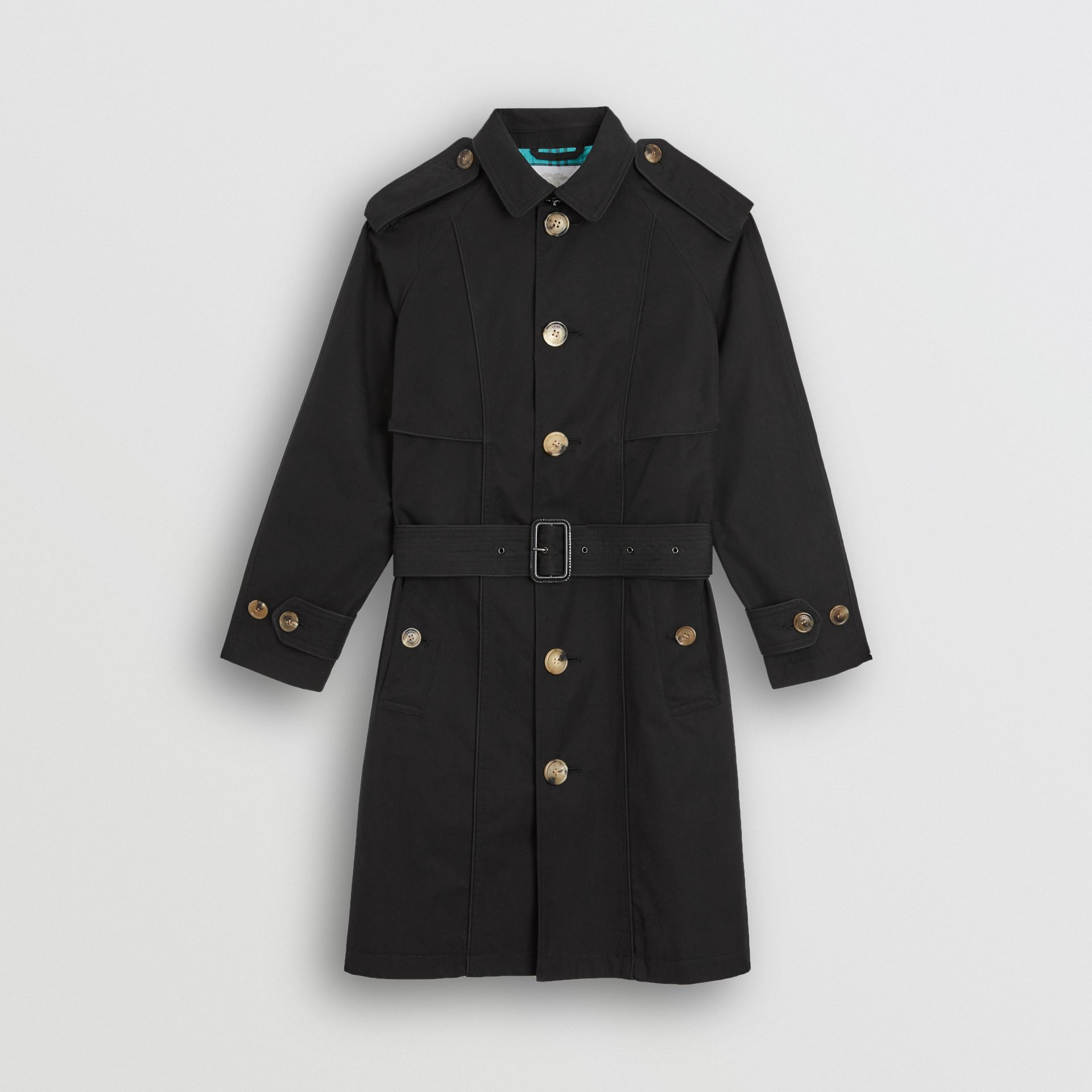 Piping Detail Tropical Gabardine Trench Coat in Black | Burberry - gallery image 0