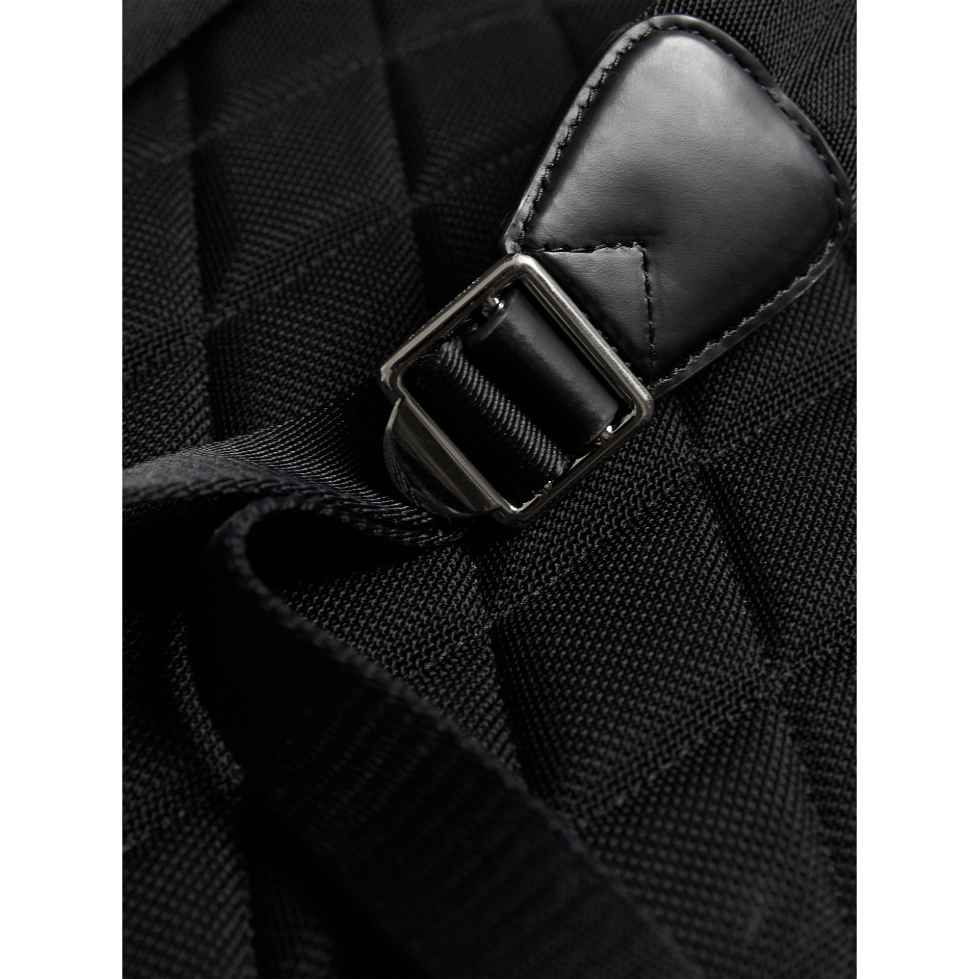 Leather Trim London Check Backpack in Navy/black - Men | Burberry - gallery image 5