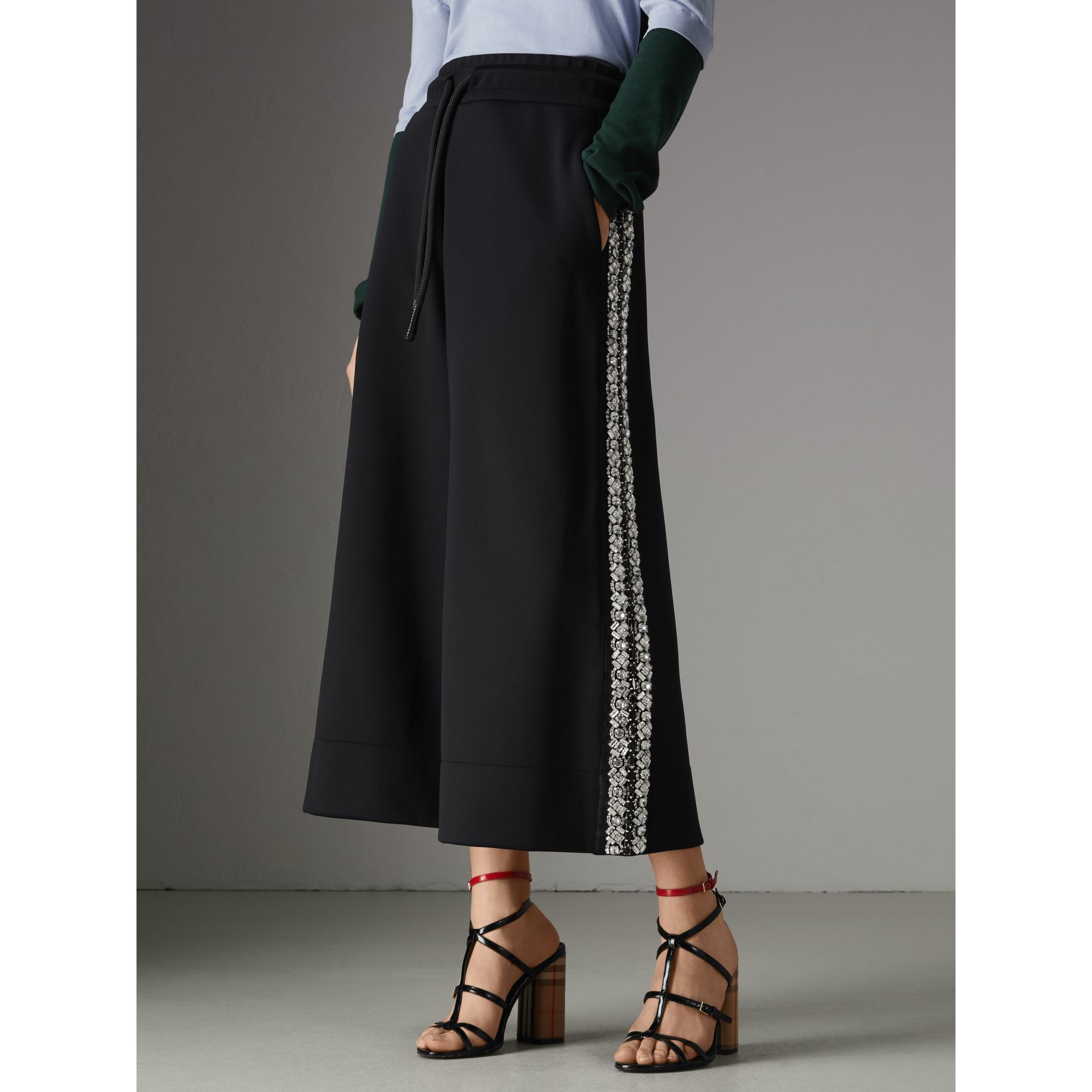 Crystal Detail Wide-leg Jersey Cropped Track Pants in Black - Women | Burberry Australia - gallery image 4