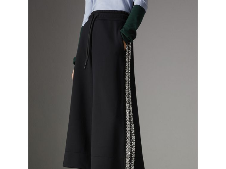 Crystal Detail Wide-leg Jersey Cropped Track Pants in Black - Women | Burberry - cell image 4