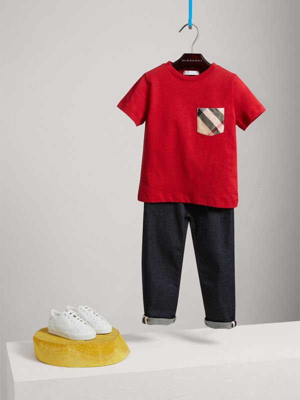 Check Pocket Cotton T-shirt in Military Red - Boy | Burberry - cell image 2