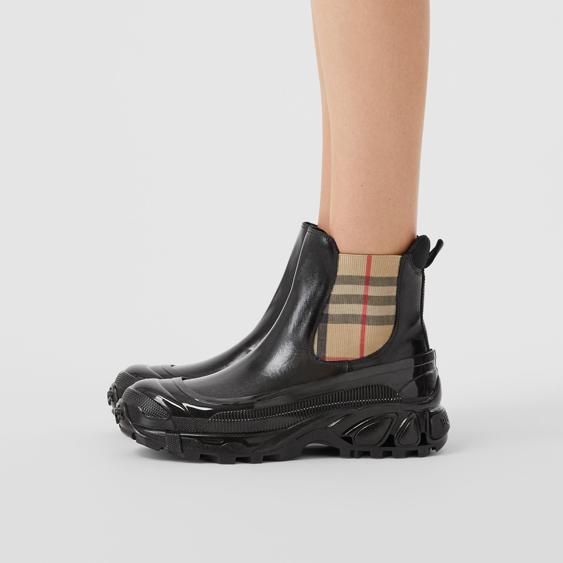 Vintage Check Detail Coated Canvas Chelsea Boots in Black/archive Beige - Women | Burberry Hong Kong S.A.R - gallery image 2