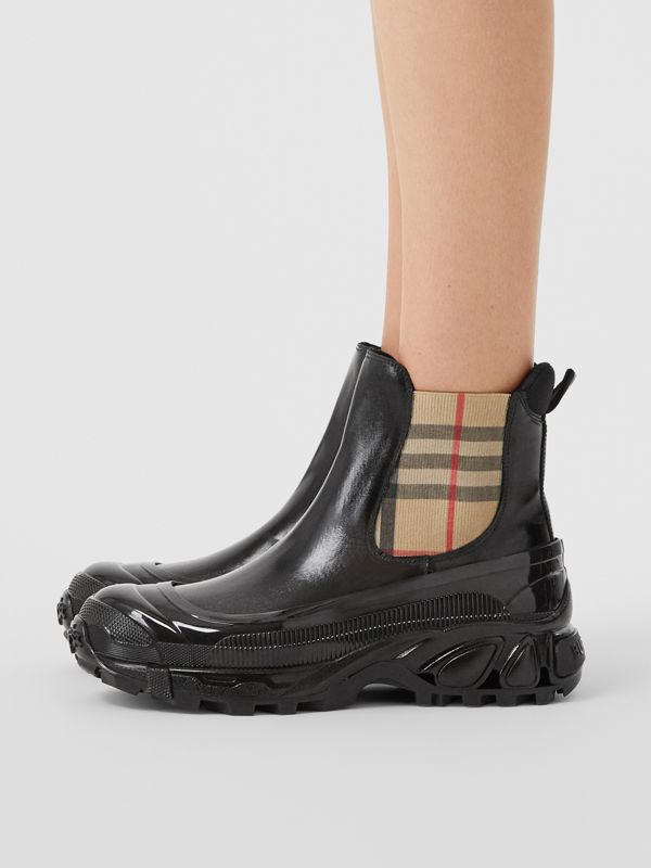 Vintage Check Detail Coated Canvas Chelsea Boots in Black/archive Beige - Women | Burberry Hong Kong S.A.R - cell image 2