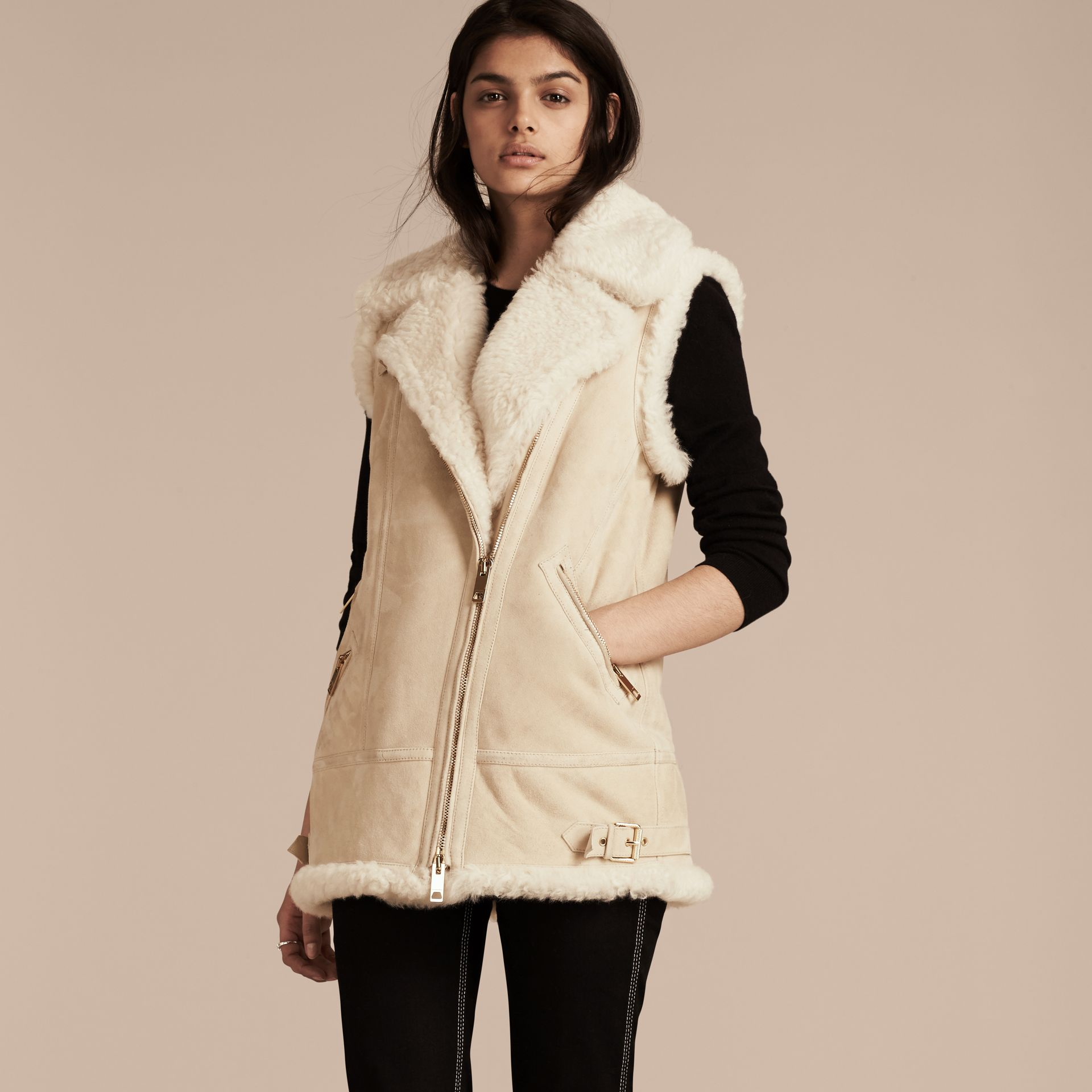 Natural white Shearling Biker Gilet Natural White - gallery image 7