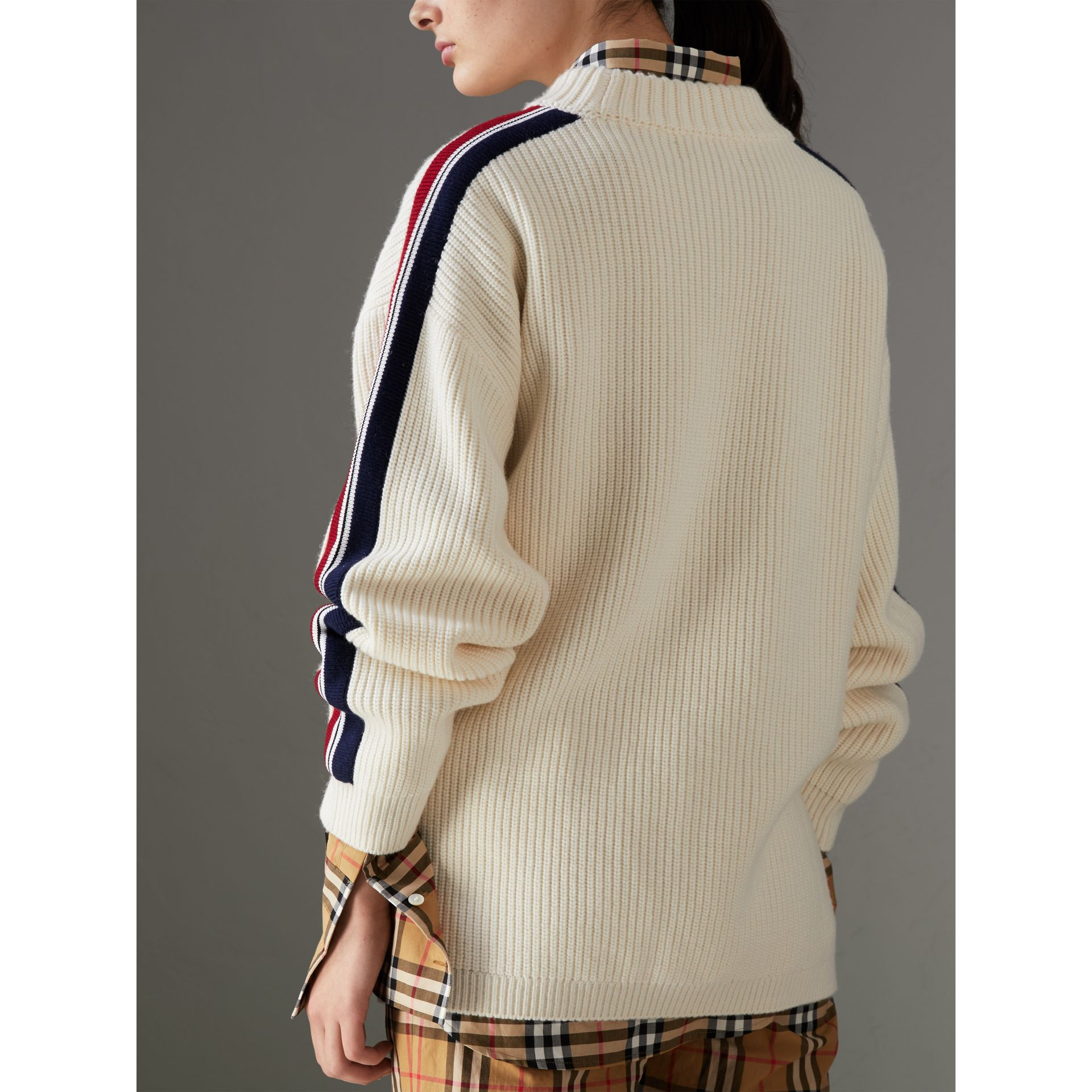 Stripe Detail Wool Cashmere Oversized Sweater in Natural White - Women | Burberry - gallery image 2