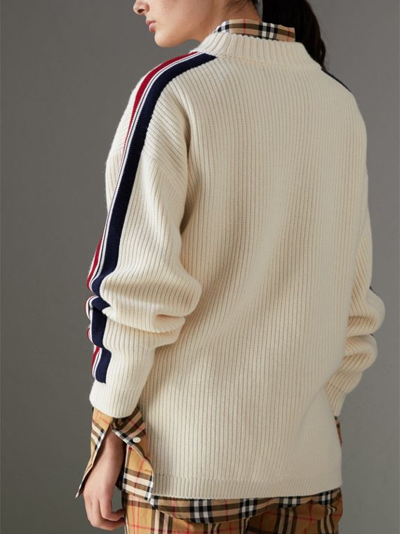 Stripe Detail Wool Cashmere Oversized Sweater in Natural White - Women | Burberry Australia - cell image 2