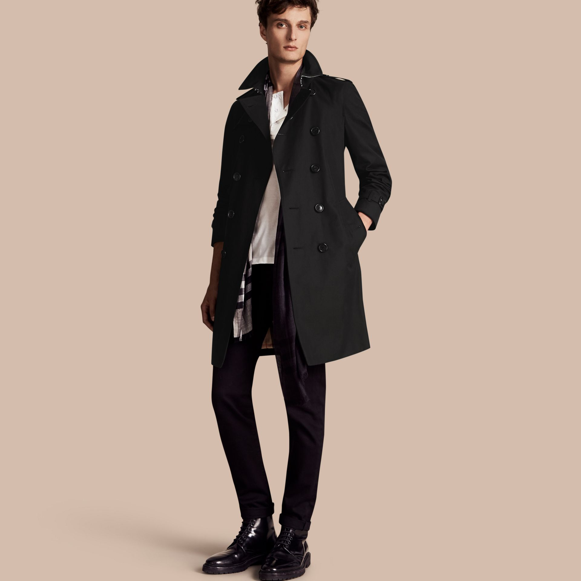 Black The Chelsea – Long Heritage Trench Coat Black - gallery image 1