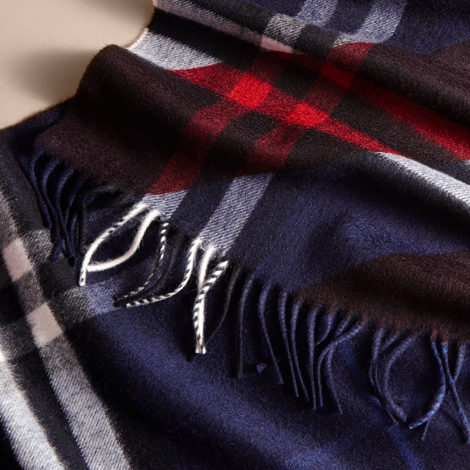 The Classic Cashmere Scarf in Check with Stripe Print - gallery image 5