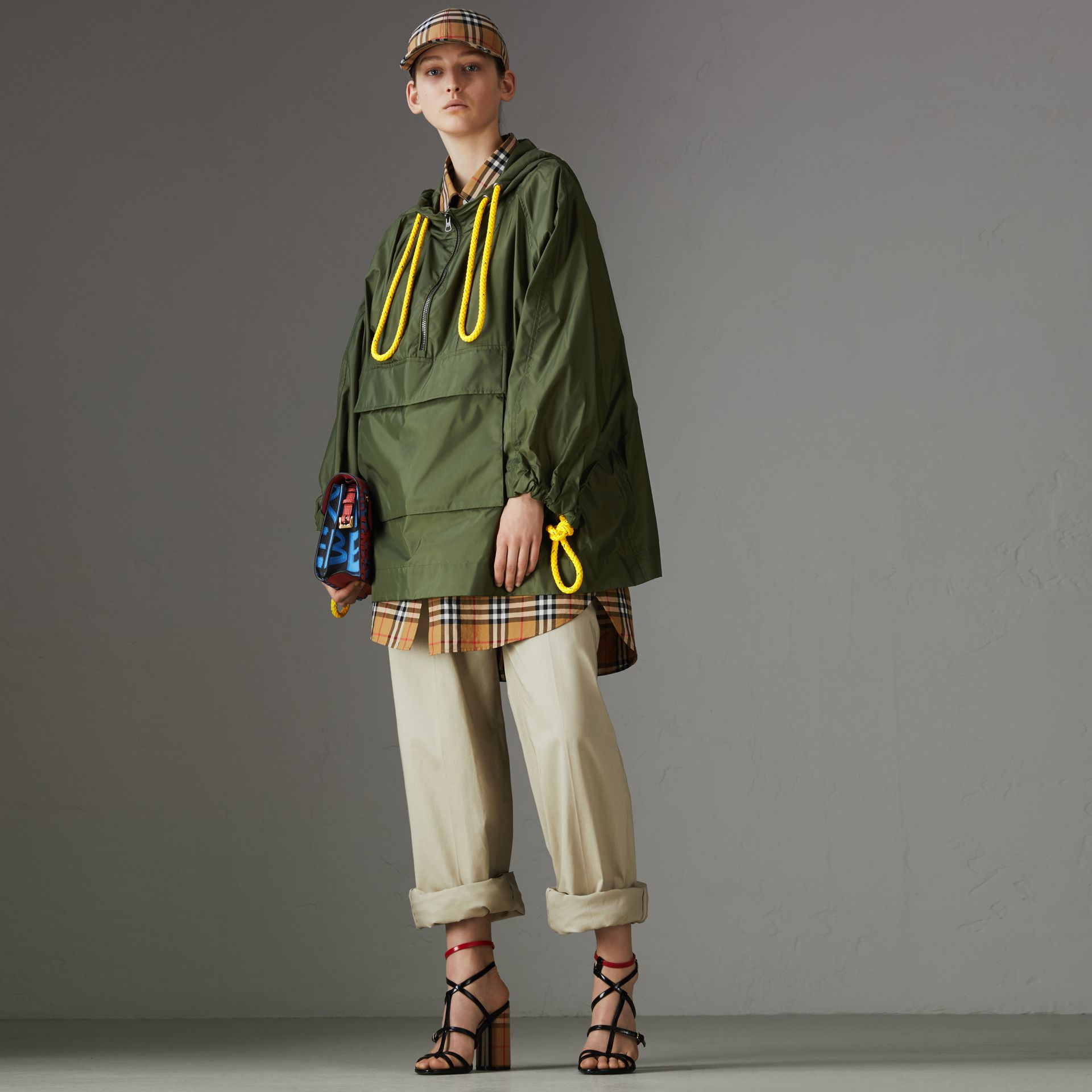 Oversized Nylon Cagoule in Light Olive - Women | Burberry - gallery image 0