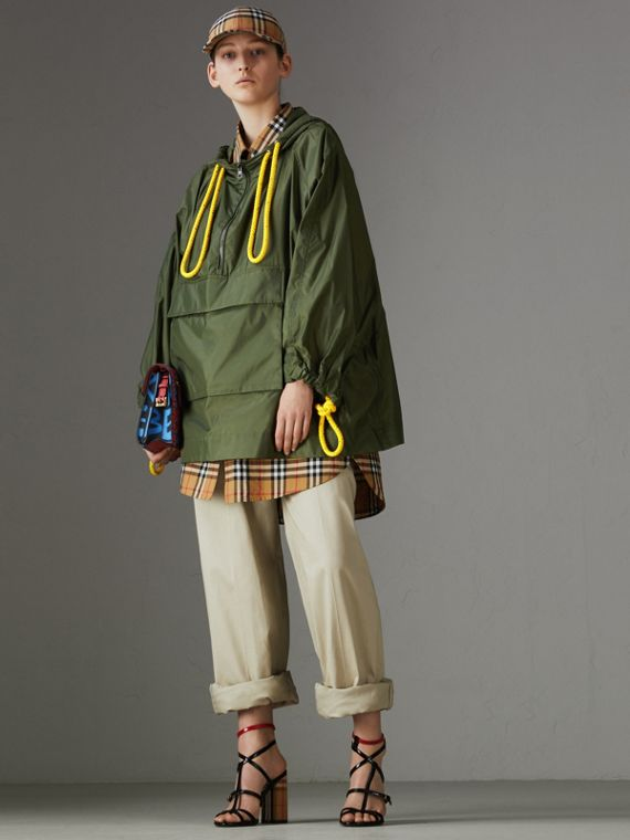 Oversized Nylon Cagoule in Light Olive