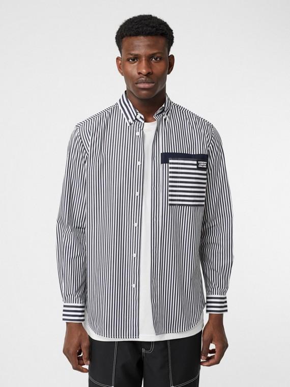 Logo Detail Contrast Stripe Cotton Shirt in Navy