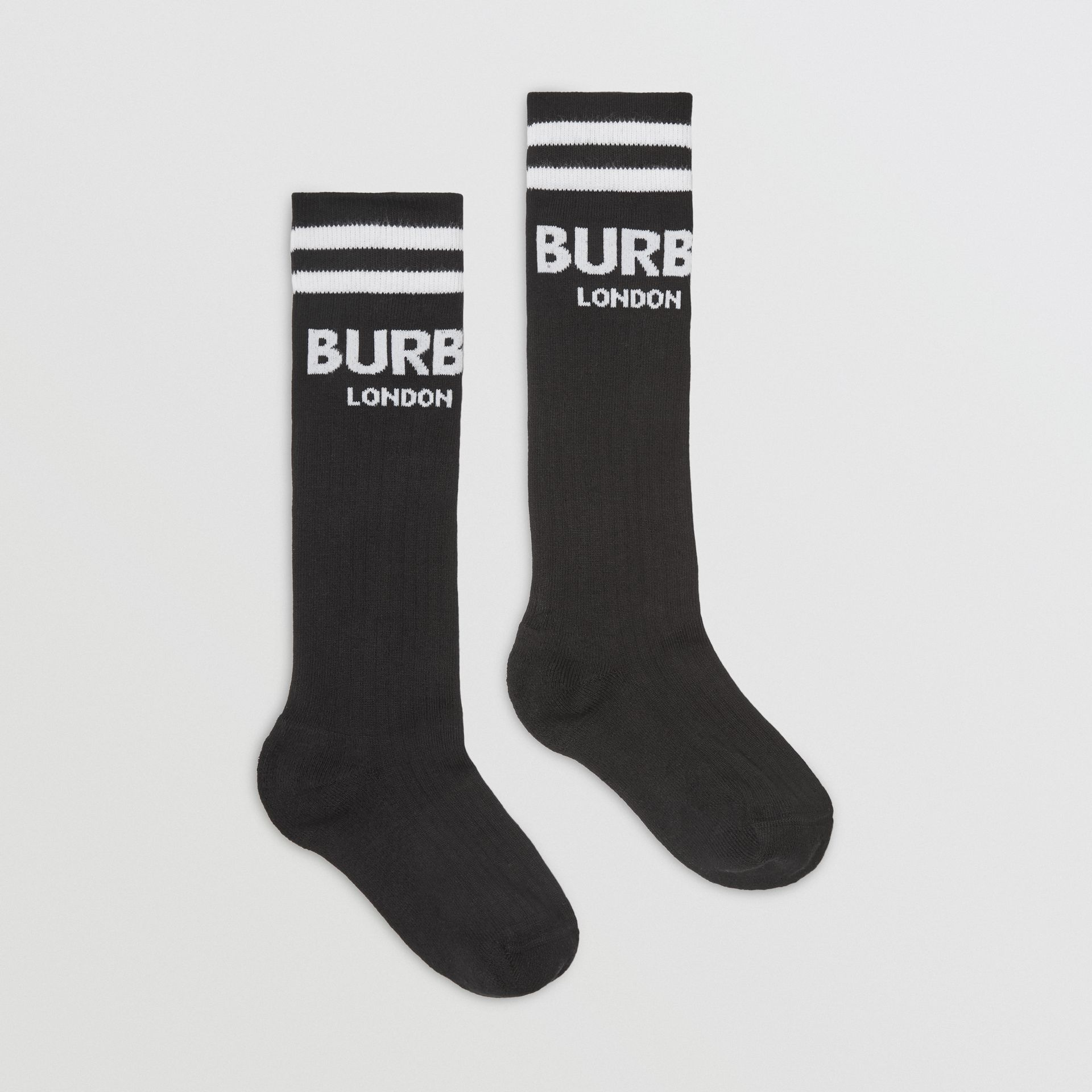 Logo Cotton Blend Socks in Black/white - Children | Burberry - gallery image 3