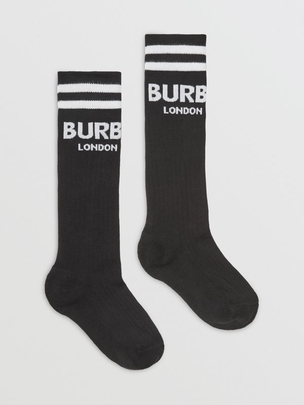 Logo Cotton Blend Socks in Black/white - Children | Burberry - cell image 3