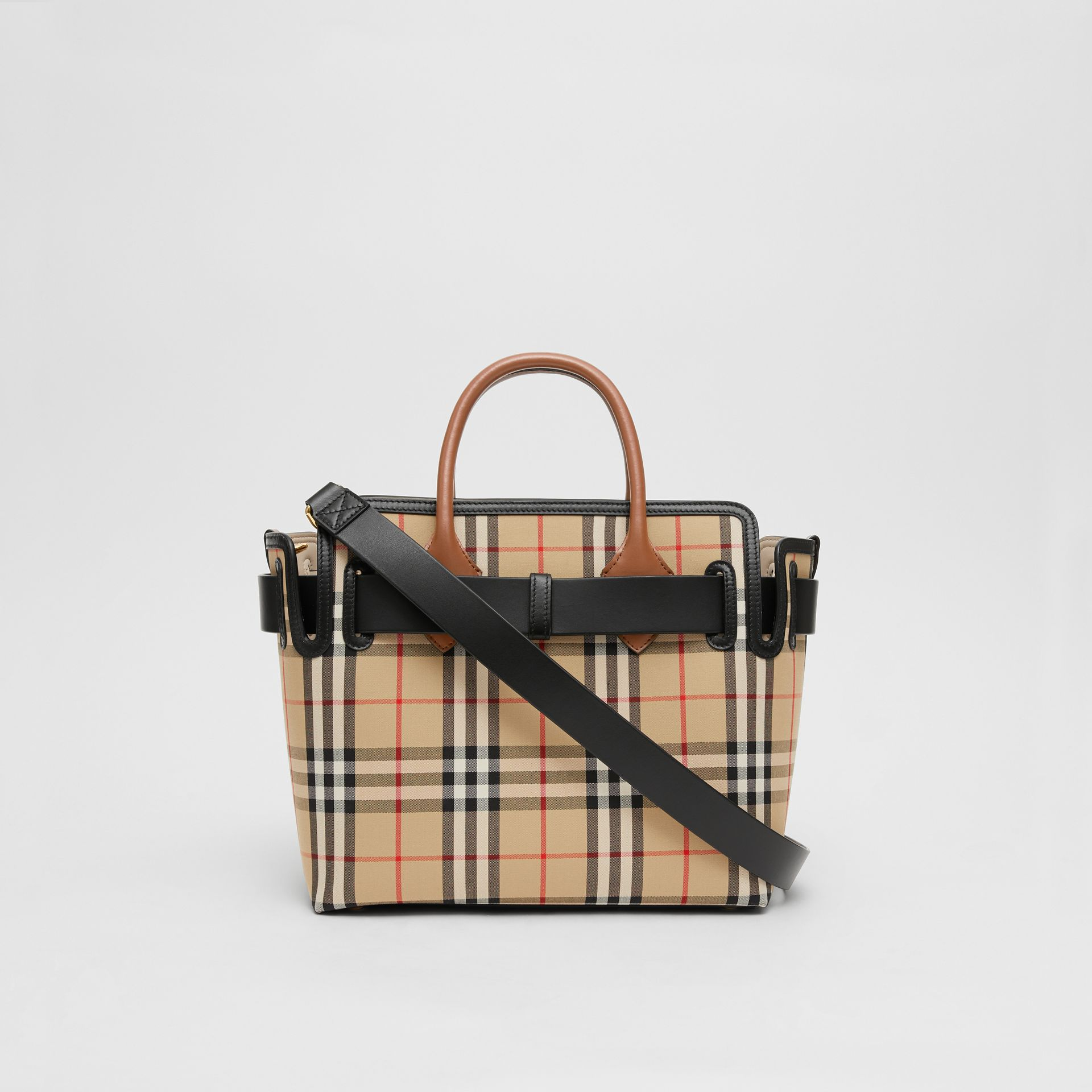 The Small Vintage Check Triple Stud Belt Bag in Archive Beige - Women | Burberry Singapore - gallery image 7