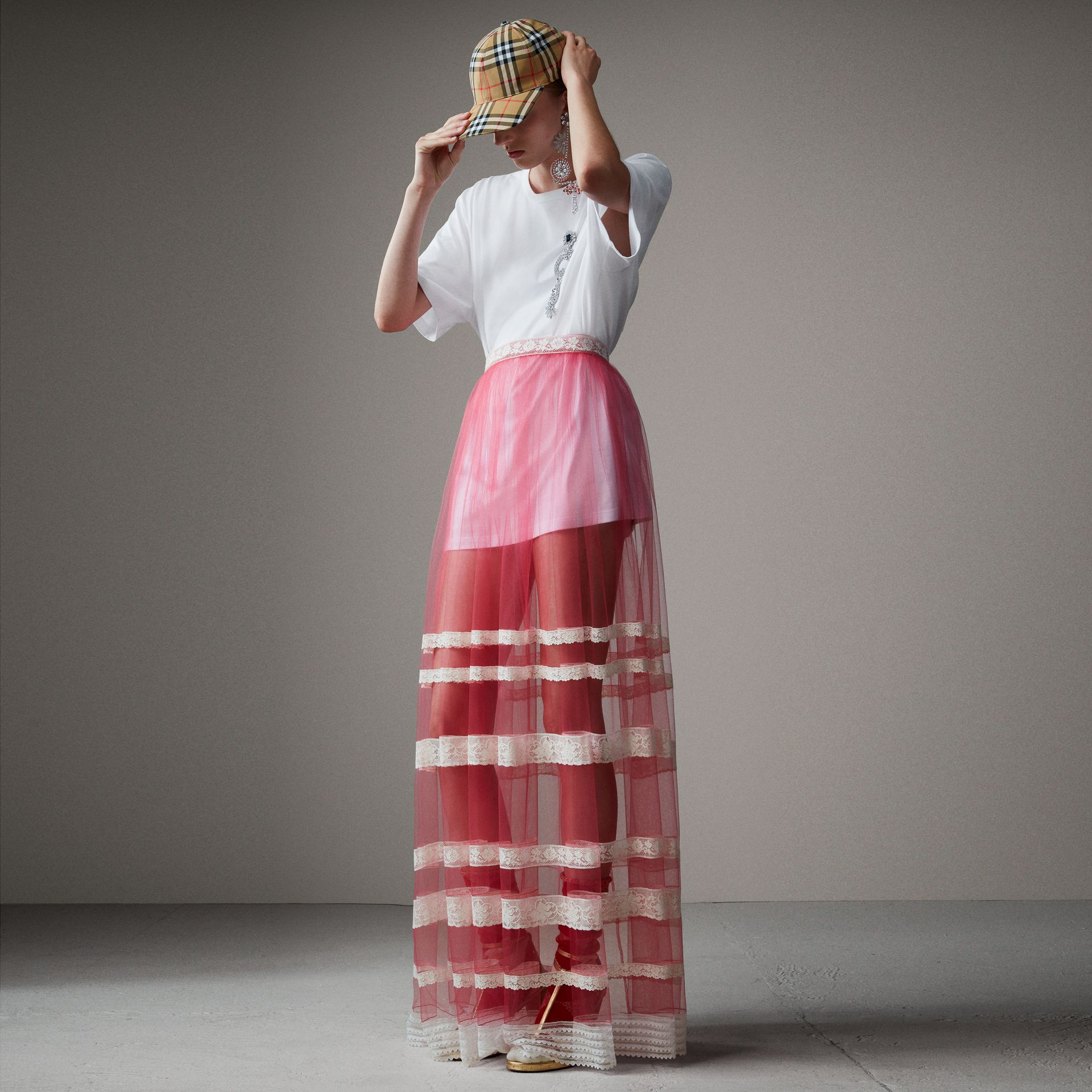 Floor-length English Lace Trim Tulle Skirt in Bright Pink - Women | Burberry - gallery image 0