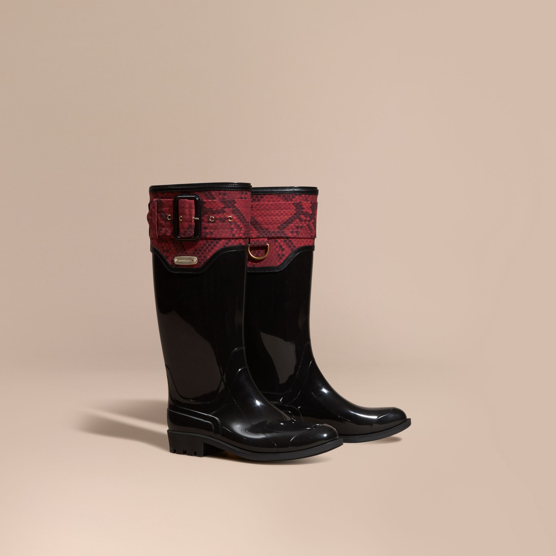 Black/windsor red Python Print Detail Rain Boots - gallery image 1