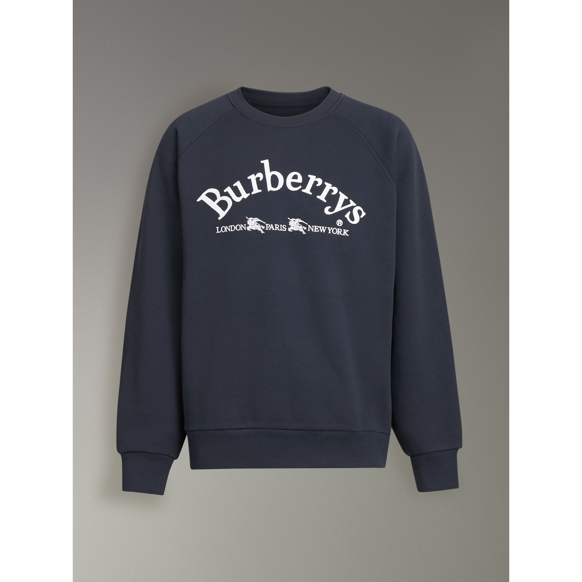 Embroidered Archive Logo Jersey Sweatshirt in Navy - Men | Burberry Singapore - gallery image 3