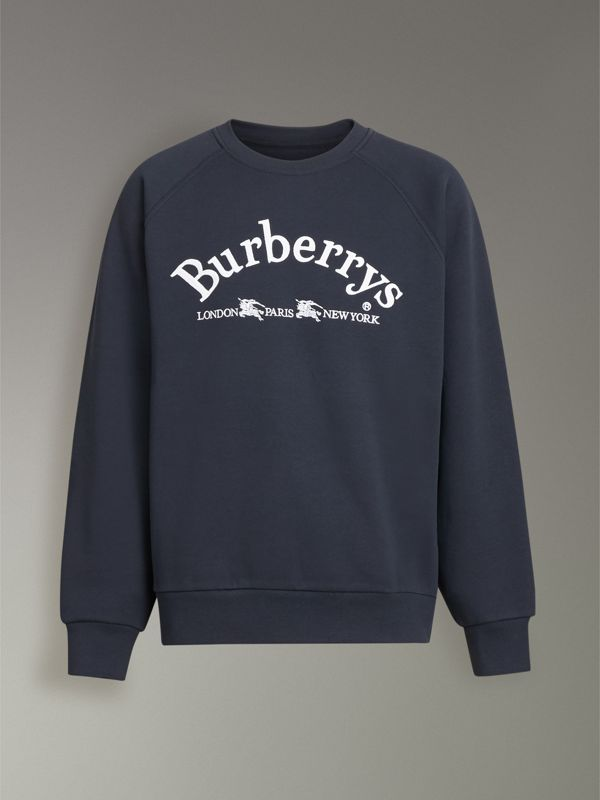 Embroidered Archive Logo Jersey Sweatshirt in Navy - Men | Burberry Singapore - cell image 3