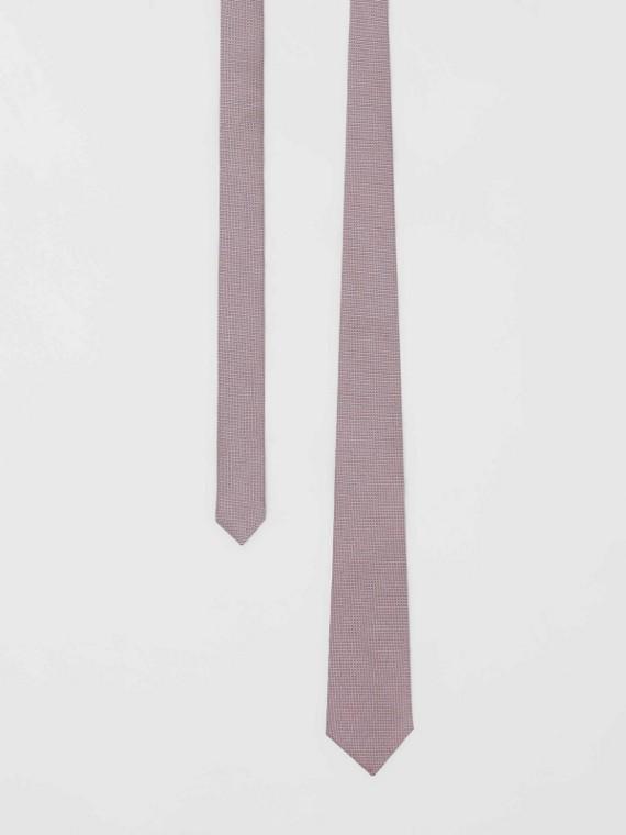 Cravate classique en jacquard de soie à micro-pois (Rose Hortensia)