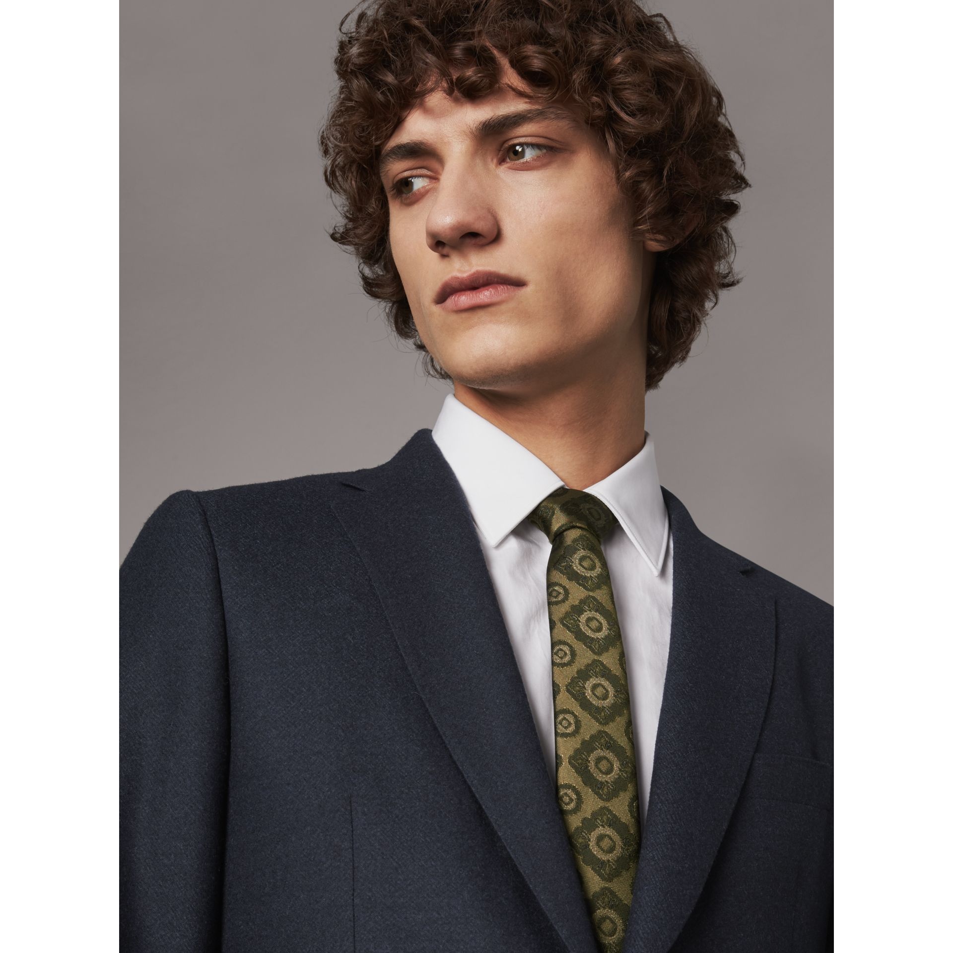 Slim Cut Tiled Floral Silk Jacquard Tie in Military Green - Men | Burberry - gallery image 3