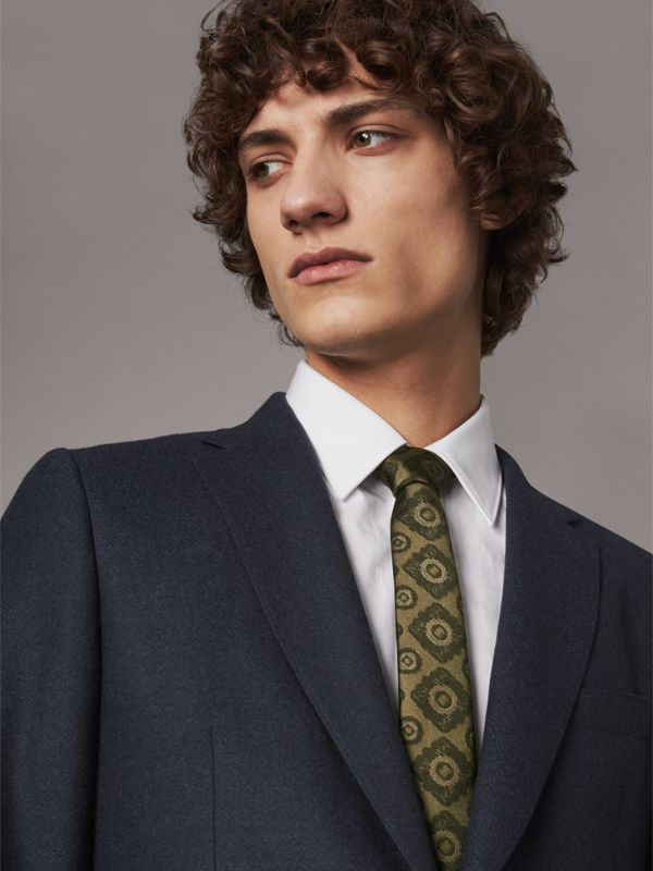 Slim Cut Tiled Floral Silk Jacquard Tie in Military Green - Men | Burberry United Kingdom - cell image 2