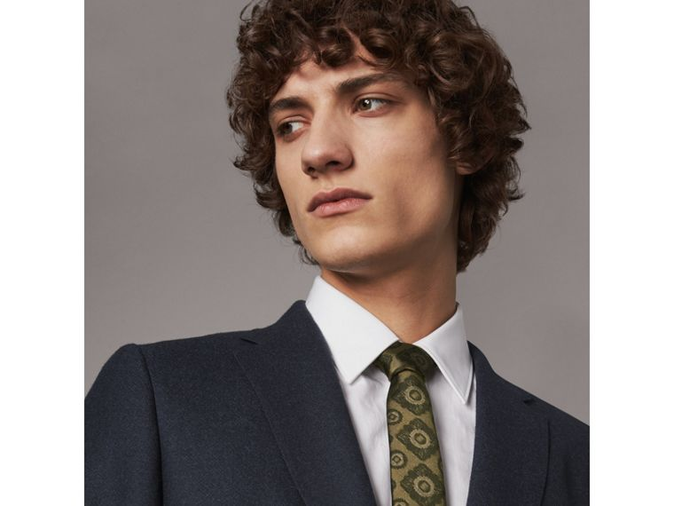 Slim Cut Tiled Floral Silk Jacquard Tie in Military Green - Men | Burberry - cell image 2
