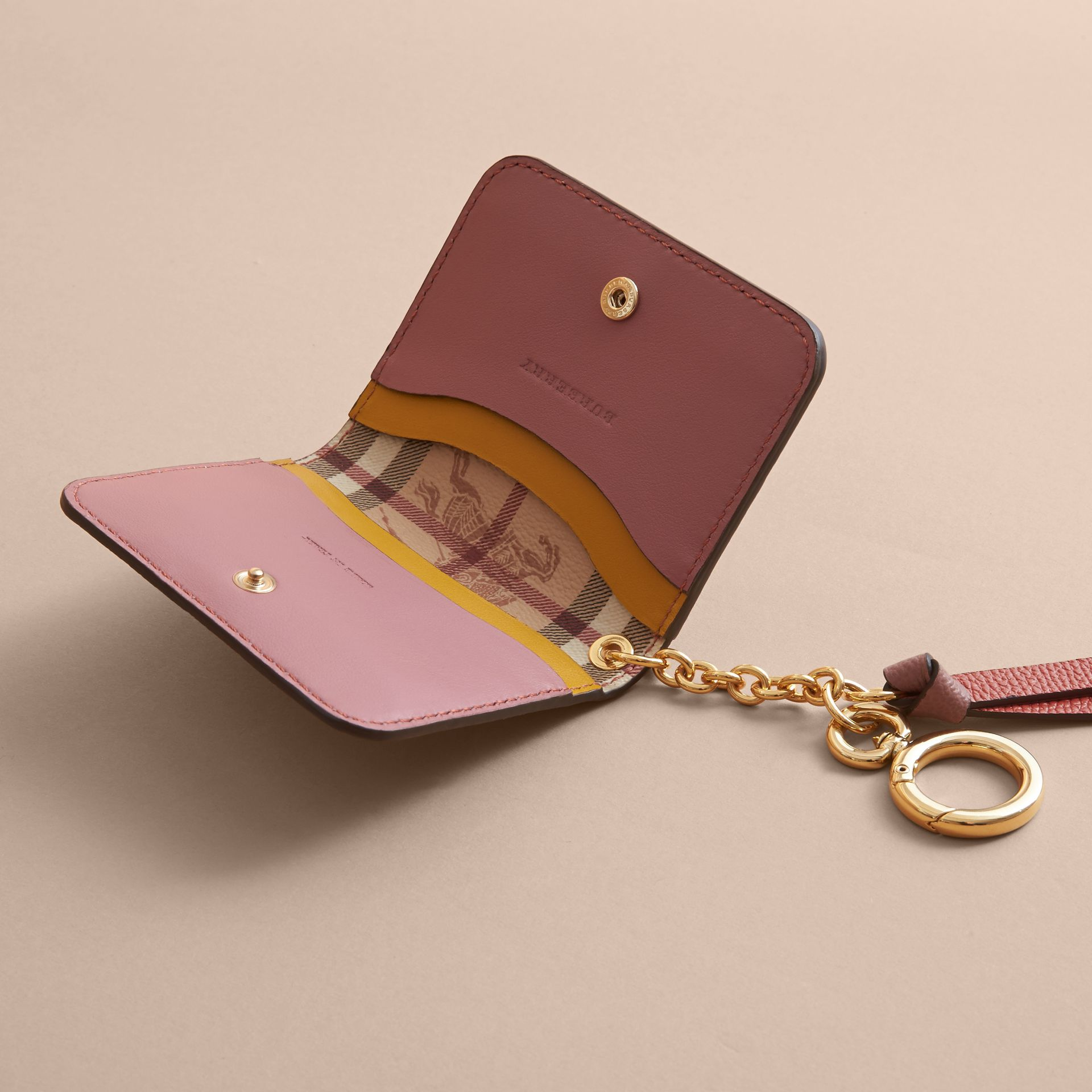 Leather and Haymarket Check ID Card Case Charm in Cinnamon Red/multi - Women | Burberry - gallery image 5