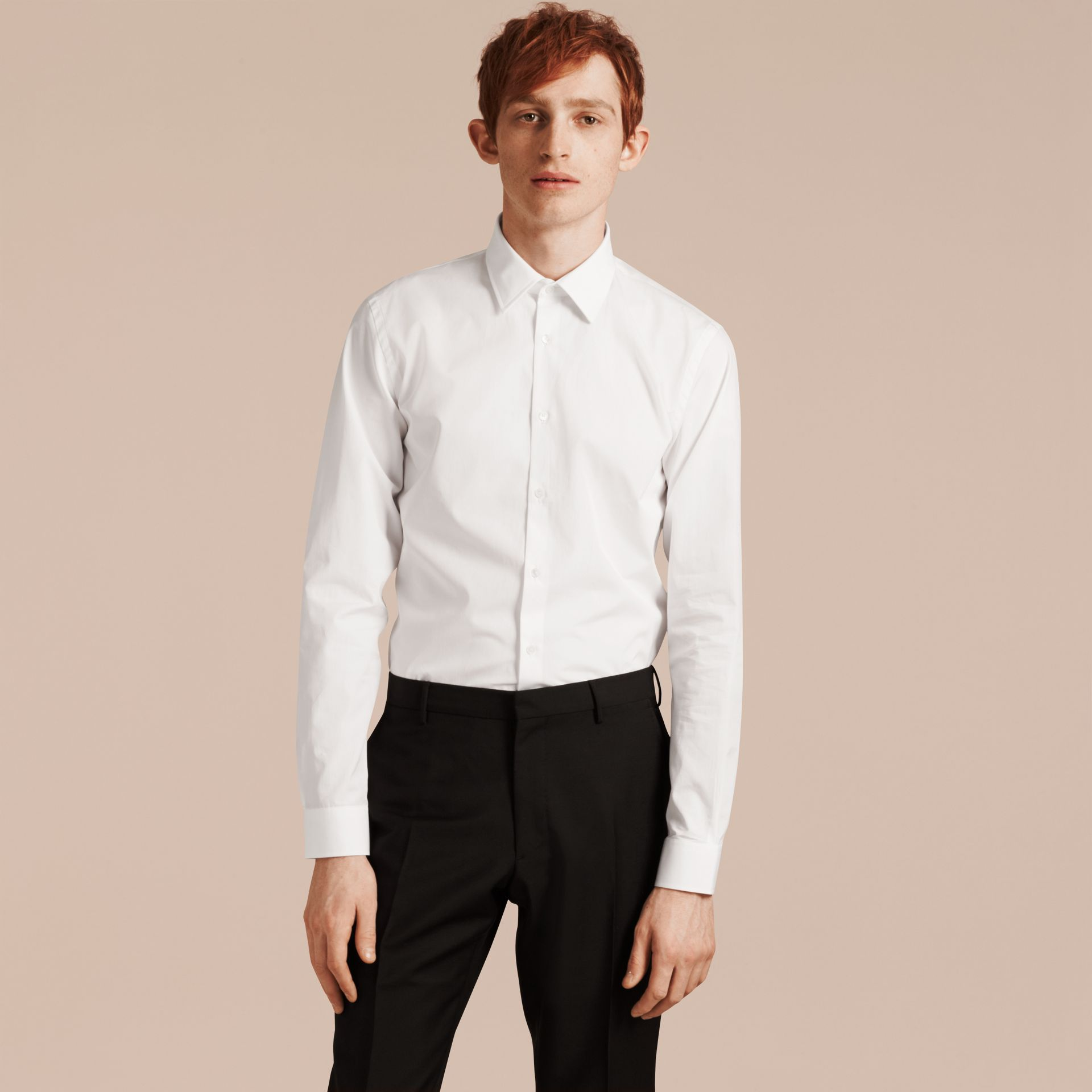 Slim Fit Cotton Poplin Shirt in White - Men | Burberry Hong Kong - gallery image 1