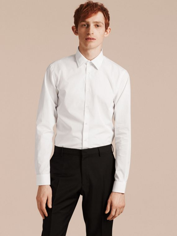 Slim Fit Cotton Poplin Shirt White