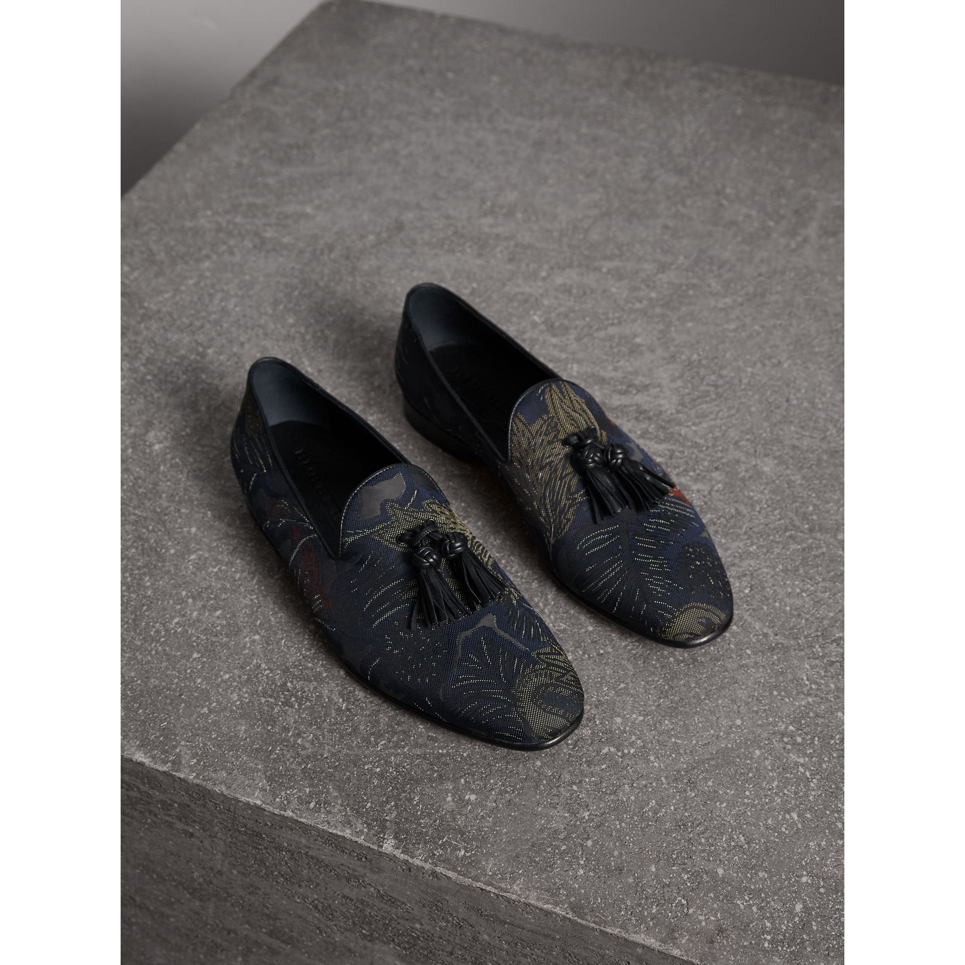 Tasselled Beasts Jacquard Loafers in Navy Grey - Men | Burberry - gallery image 1