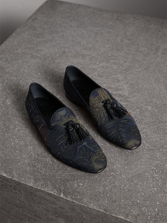 Tasselled Beasts Jacquard Loafers in Navy Grey