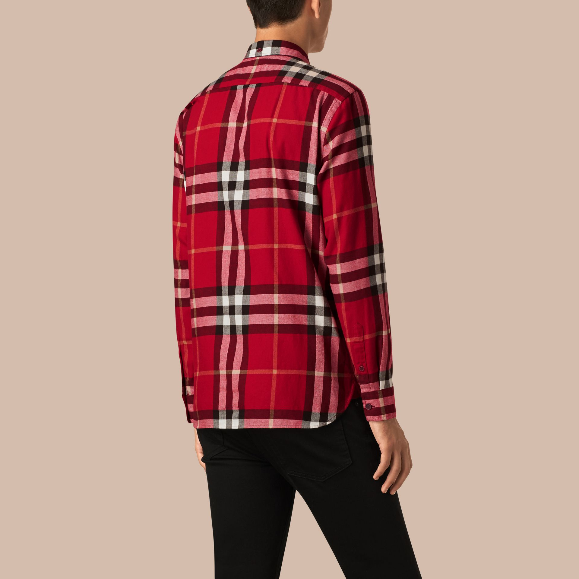 Parade red Check Cotton Flannel Shirt Parade Red - gallery image 3